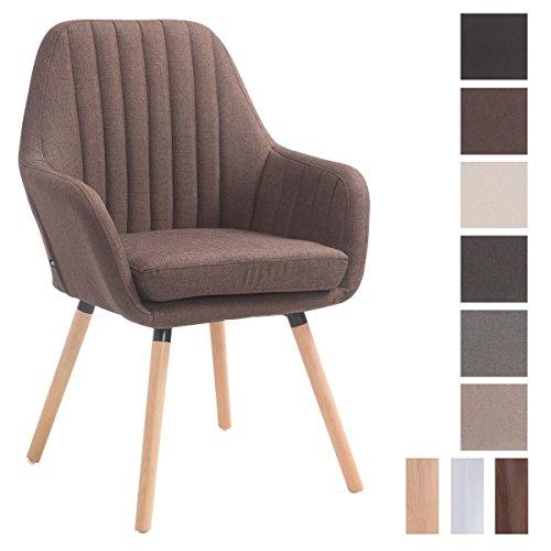 CLP Retro-Stuhl mit Armlehne FLORIAN, Stoff-Bezug, XL bis 160 kg, sesselförmiger Sitz, gepolstert, Sitzhöhe 53 cm
