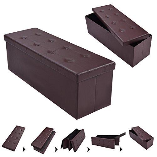 COSTWAY Sitzhocker Sitzbank faltbar Sitzbox Aufbewahrungsbox Sitzwürfel Hocker Bank Sitztruhe Truhe Sitzkasten Polsterhocker PVC-Leder Farbwahl 114 x 38 x 38cm