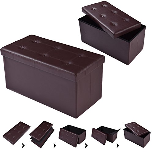 COSTWAY Sitzhocker Sitzbank faltbar Sitzbox Aufbewahrungsbox Sitzwürfel Hocker Bank Sitztruhe Truhe Sitzkasten Polsterhocker PVC-Leder Farbwahl 76 x 38 x 38cm