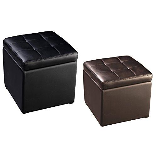 COSTWAY Sitzhocker mit Stauraum Sitzwürfel Sitzbox Sitzbank Aufbewahrungsbox Ottomane Polsterhocker Farbwahl PU-Leder 40x40x40cm