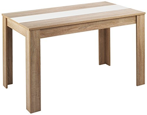 Cavadore Tisch Nico / Moderner Esstisch mit Melaminplatte in Schwarz-Weiß / Melamin Sonoma Eiche / Hellbraun / 140 x 80 x 75 cm (L x B x H)