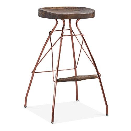 Cult Design Atlas Metall Barhocker, Solid Elm Holz Sitz, Kupfer 76cm