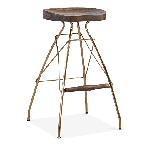 Cult Design Atlas Metall Barhocker, Solid Elm Holz Sitz, Messing 76cm