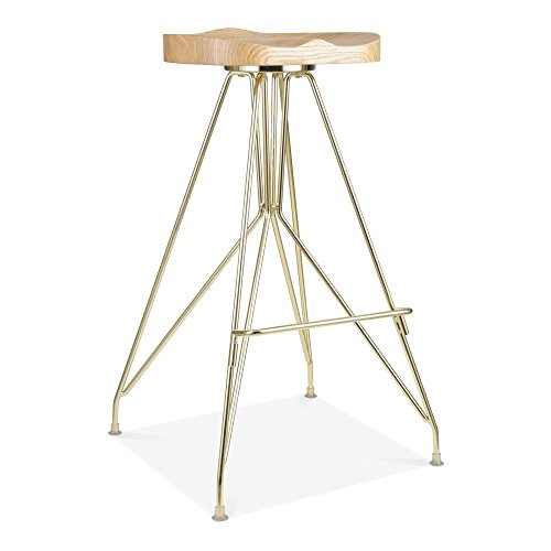 Cult Design Moda Metall Barhocker CD1, Esche Massivholzsitz, Gold 76cm