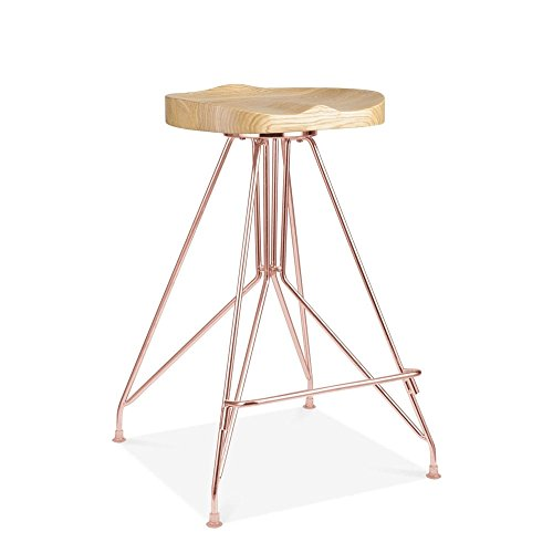Cult Design Moda Metall Barhocker CD1, Esche Massivholzsitz, Kupfer 66cm