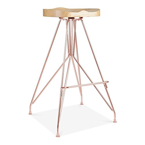 Cult Design Moda Metall Barhocker CD1, Esche Massivholzsitz, Kupfer 76cm