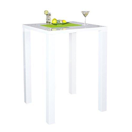 Design Bartisch Bistrotisch LUCENTE hochglanz weiss 80x80x105cm