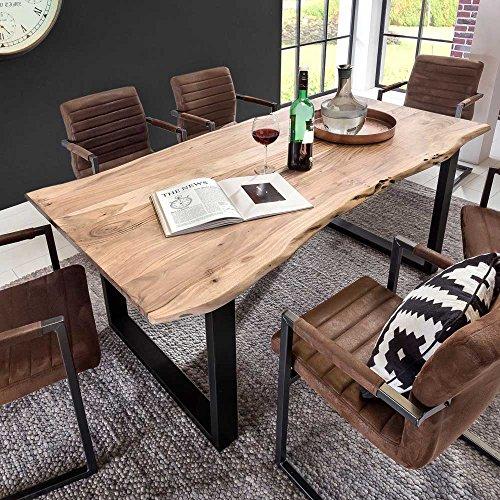 Design Esstisch mit Baumkante Akazie massiv Pharao24
