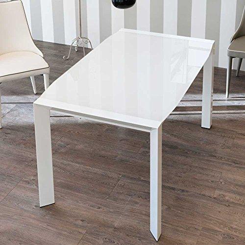 Design Esstisch mit weißer Glasplatte ausziehbar Pharao24