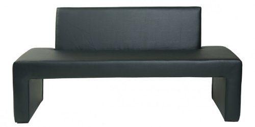 Design Sitzbank Karina Bank mit Rückenlehne Kunstleder modern in schwarz