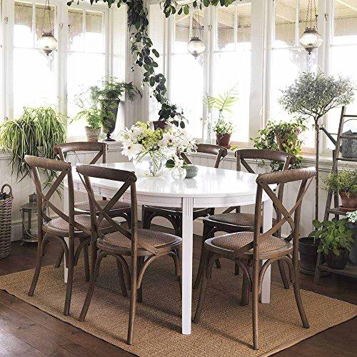 Design Sitzgruppe in Weiß Holz Rattan (7-teilig) Pharao24