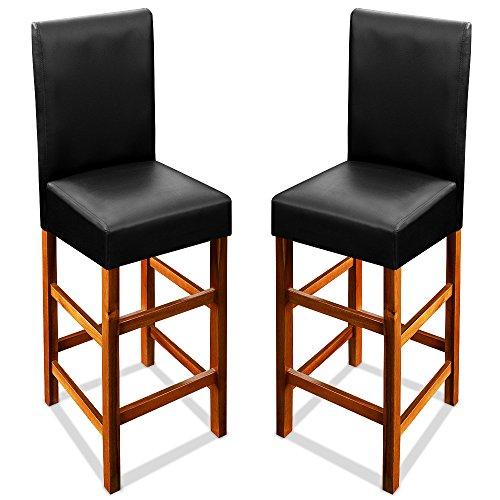 Deuba® 2er Set Barhocker ✔mit Lehne ✔massives Holzgestell ✔Akazienhartholz ✔Leder-Optik - Barstuhl Tresenstuhl Barstuhl Hocker Stuhl Holz