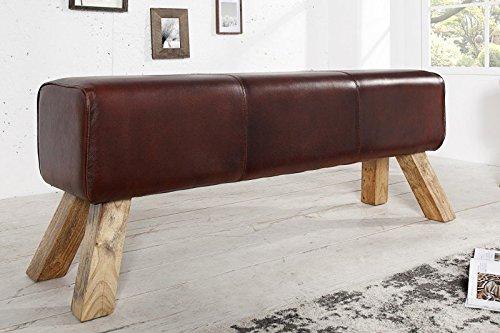 DuNord Design Bank Sitzbank BULL 120cm Leder Design Sitzmöbel Teakholz Massiv Holz Turnbock
