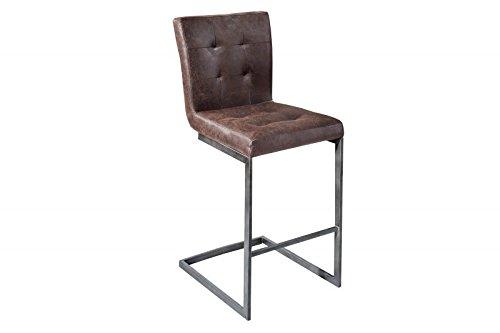 DuNord Design Barhocker Barstuhl 2er Set SUTTON Leder braun Eisen Vintage Look Barmöbel Sitzhocker