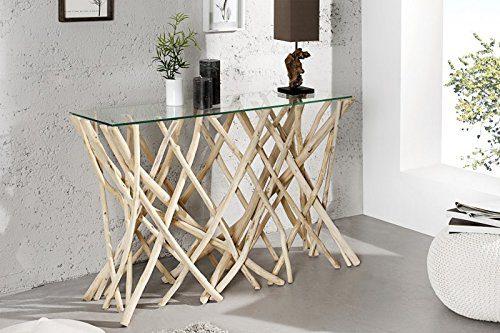 DuNord Design Konsole Kommode ALGARVE 120cm Teak Treibholz Schwemmholz Design Wandtisch Ablage