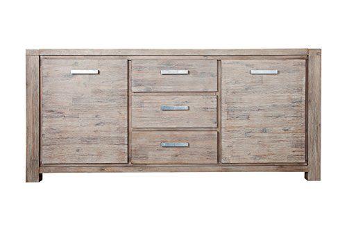 DuNord Design Sideboard Kommode OSLO 180cm Akazie Massivholz Anrichte Holz natur weiss gekälkt