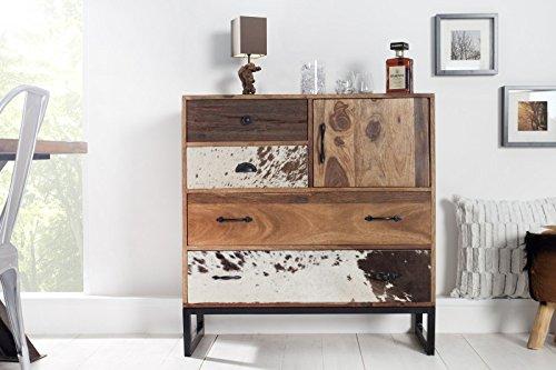 DuNord Design Sideboard Kommode TEXAS 90cm Massivholz Sheesham und Felloptik Patchwork Massiv Holz