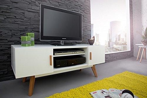 DuNord Design TV-Board Lowboard STOCKHOLM 120cm weiss Eiche Retro Design TV Möbel Fernsehtisch