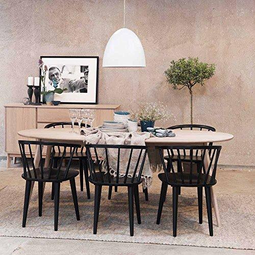 Essgruppe in Schwarz Eiche Bianco mit ovalem Tisch (7-teilig) Pharao24