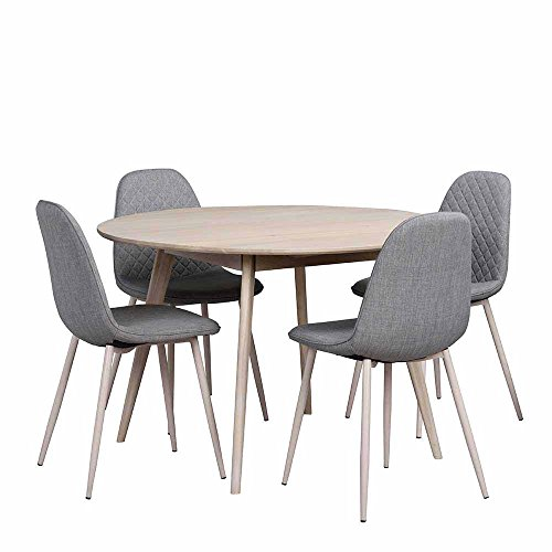 Essgruppe mit rundem Tisch Eiche Grau (5-teilig) Pharao24