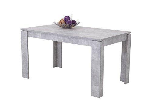 Esstisch, Küchentisch, Esszimmertisch, Tisch, rechteckig, Beton-Optik, ausziehbar, erweiterbar, Dickkante, Winkelfüße