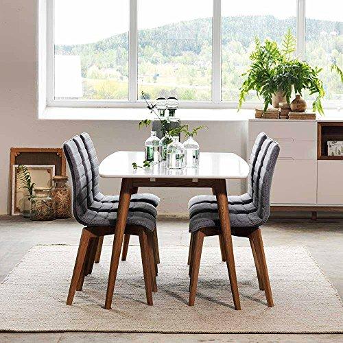 Esstisch mit Stühlen in Weiß Grau ausziehbar (7-teilig) Pharao24