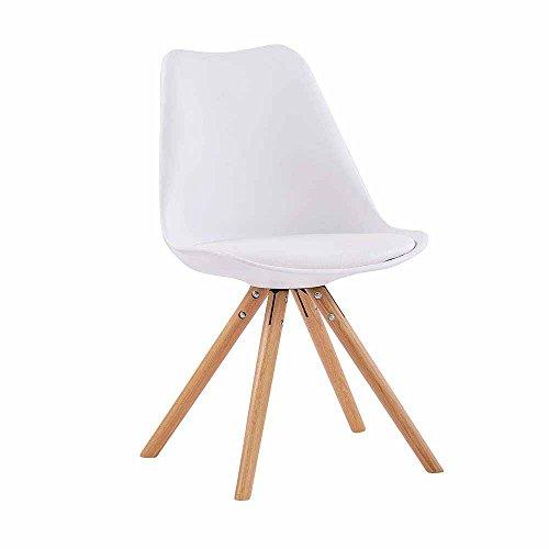 Esstischstuhl mit Schalensitz Weiß Eiche (4er Set) Pharao24