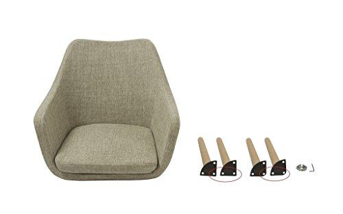 Esszimmerstuhl aus Stoff (Leinen) oder Kunstleder Farbauswahl Retro Design Armlehnstuhl mit Rückenlehne Holzbeine WY-8021D