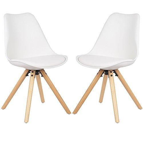 Eugad 2er Set Esszimmerstühle mit Holzgestell gepolsterte Sitzfläche aus Kunstleder, Design Stuhl Küchenstuhl,Weiß,BH52ws-2