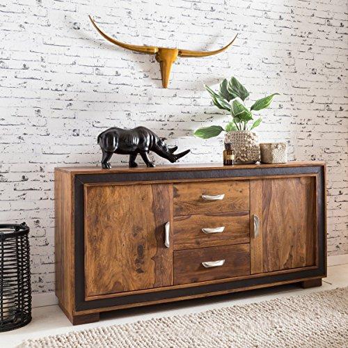 FineBuy Design Sideboard KARNA Sheesham Massivholz mit Kunstleder 160x44x80 cm | Anrichte im rustikalen Landhausstil | Kommode mit Schubladen & Türen