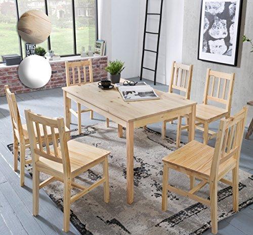 FineBuy Esszimmer-Set EMILIO 7 teilig Kiefer-Holz Landhaus-Stil 120 x 73 x 70 cm   Natur Essgruppe 1 Tisch 6 Stühle   Tischgruppe Esstischset 6 Personen   Esszimmergarnitur massiv