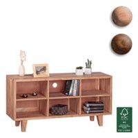 FineBuy-Lowboard-Massivholz-Kommode-118cm-TV-Board-6-Fcher-Landhaus-Stil-dunkel-braun-Unterschrank-TV-Mbel-0