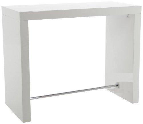 H000014433 Bartisch Christian, weiß hochglanz, Mittelfußstange in Metall, ca. 130 x 105 x 60 cm, verchromt