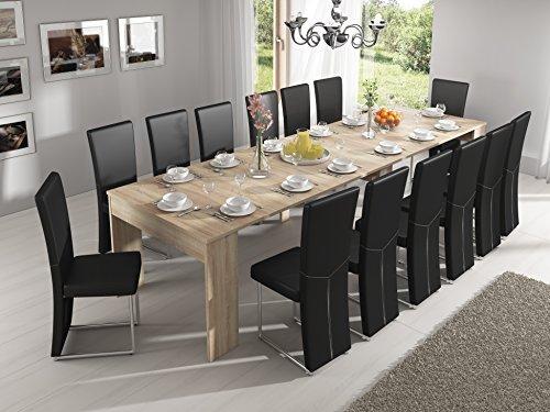 Home Innovation – Esstisch, ausziehbar bis 301 cm, Eiche hell, Maße geschlossen: 90 x 49 x 75 cm Höhe.