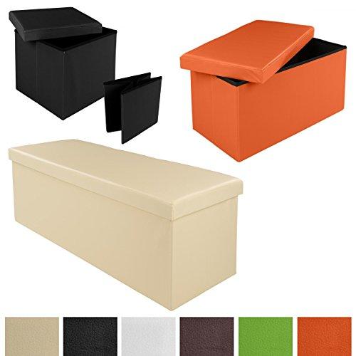 Homelux Faltbarer Sitzhocker mit Stauraum Sitzwürfel Aufbewahrungsbox Sitzbank Sitzbox 38, 76 oder 110 cm diverse Farben