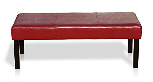 KMH®, 2er Sitzbank mit bordeauxrotem Kunstlederbezug (#201741)