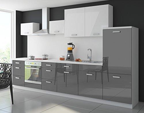 Küche Color 340 cm Küchenzeile Küchenblock Einbauküche in Hochglanz Grau / Weiss