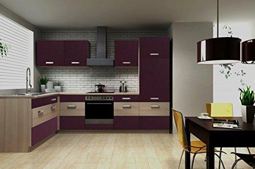 Küche Susanne 172x280 cm Küchenzeile in aubergine / Akazie - Küchenblock variabel stellbar