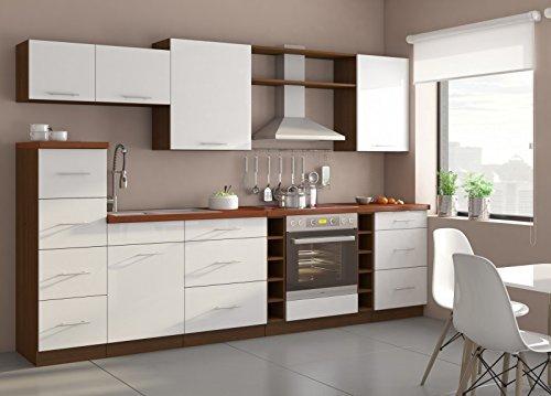 Küche Trend 290cm Küchenzeile/Küchenblock variabel stellbar in hochglanz weiss / nussbaum