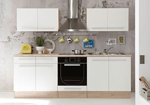 """Küche """"Welcome X"""" Küchenblock Küchenzeile Komplettküche 240cm Singleküche Miniküche Kleinküche weiß Eiche"""