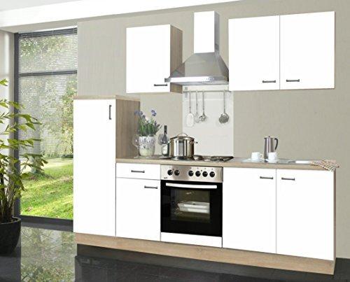 Küchenzeile Biggi 270 cm Komplett Küche weiß mit Kühlschrank Herd Backofen Spüle Esse