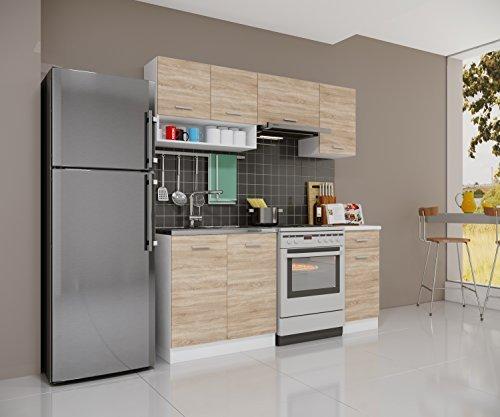 Küchenzeile Gemini Sonoma Eiche 180cm Modulküche Einbau Küchenblock