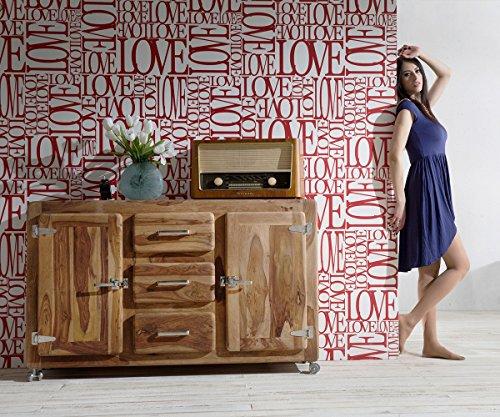 Kommode Zakarya Sheesham Natur 150 cm Massivholz 2 Türen 3 Schübe Sideboard