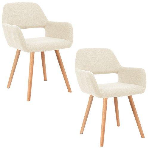 MCTECH® 2x Stuhl Esszimmerstühle Esszimmerstuhl Stuhlgruppe Konferenzstuhl Küchenstuhl Armlehne Büro mit Massivholz Eiche Bein (Type E, Beige)