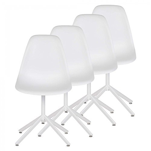 MY SIT Retro Stuhl Design Stuhl Esszimmerstühle Bürostuhl Wohnzimmerstühle Lounge Küchenstuhl Sitzgruppe 4er Set aus Kunststoff mit Rückenlehne BEEZ GO in Weiß
