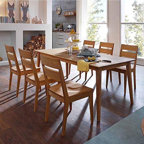 Massivholz Essgruppe aus Wildeiche geölt Tisch 180 cm (7-teilig) Pharao24
