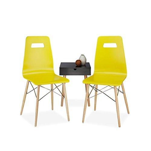 Relaxdays Design Stuhl 2-er Set ARVID, Holz, Esszimmer-Stuhl, modern, HxBxT: 92 x 43 x 40 cm, Retro, gelb