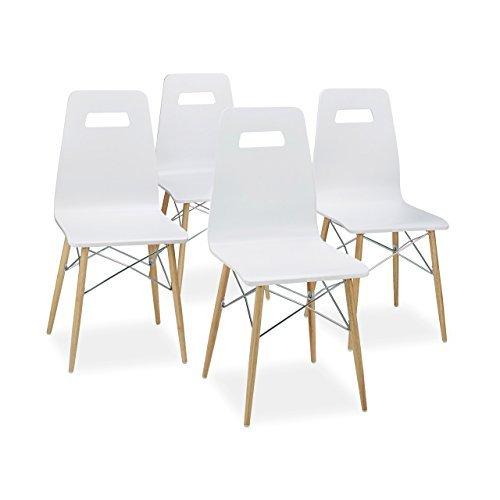 Relaxdays design stuhl 4 er set arvid holz esszimmer for Stuhl esszimmer modern