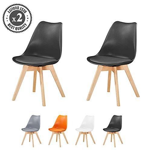 Retro Esszimmerstühle gepolstert, Design Stuhl, Küche, Lounge, 4er Set EVA (Schwarz)