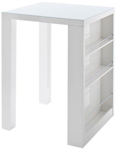 Robas Lund Bartisch Club mit Ablage Hochglanz weiß 80 x 108 x 80 cm CLUBHWGW